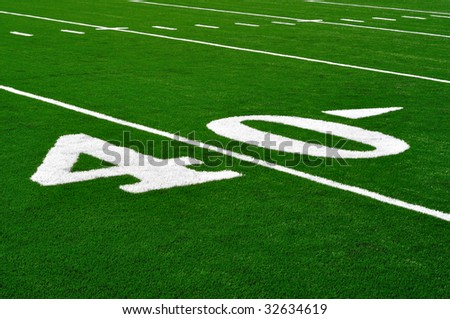 40 Yard Line on American Football Field, Copy Space - stock photo