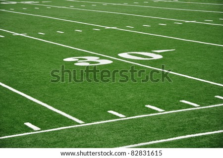 30 Yard Line on American Football Field with Hash Marks and Sideline - stock photo