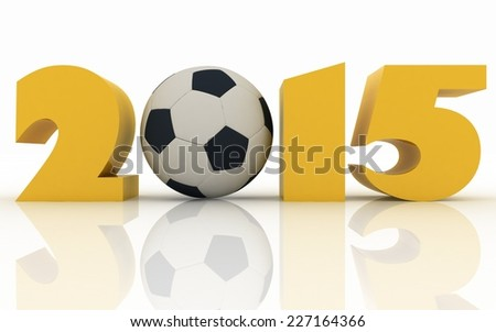 2015 year and soccer-ball on a white background  - stock photo