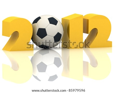 2012 year and soccer-ball on a white background - stock photo