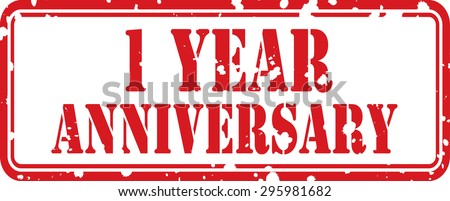 1 Year Anniversary Celebration Red Grunge Rubber Stamp, Celebrating 1th Anniversary.