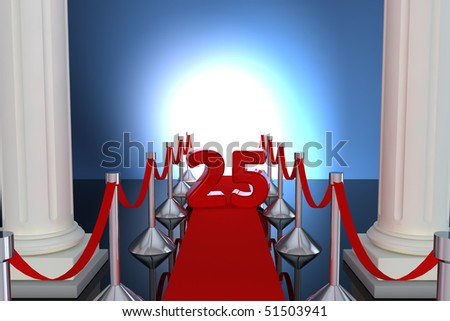 25 year anniversary with red carpet and columns - stock photo