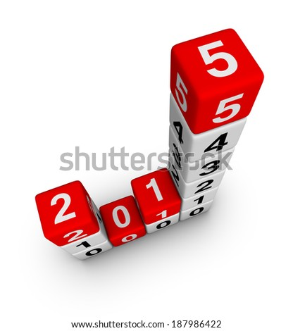 2015 year business diagram cubes - stock photo
