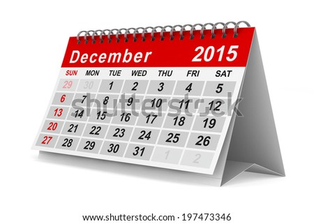 2015 year calendar. December. Isolated 3D image - stock photo
