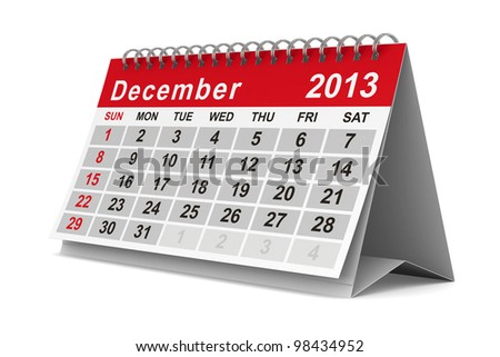 2013 year calendar. December. Isolated 3D image - stock photo