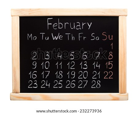 2015 year calendar. February. Week start on monday
