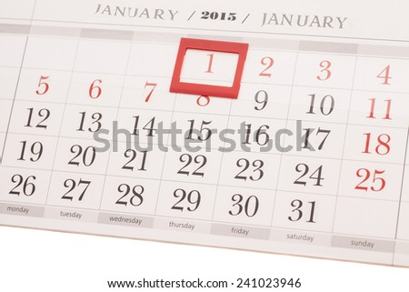 2015 year calendar. January calendar - stock photo