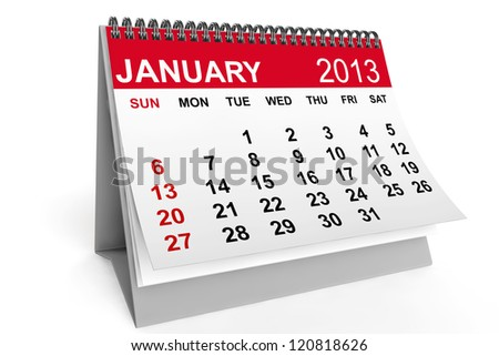 2013 year calendar. January calendar on a white background - stock photo