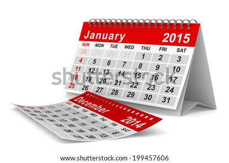 2015 year calendar. January. Isolated 3D image - stock photo