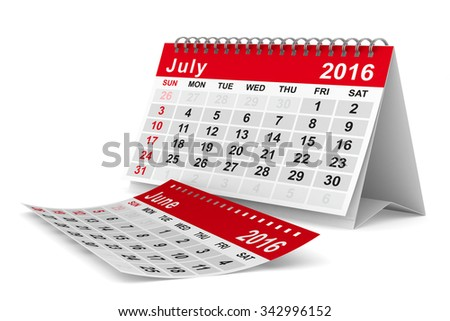 2016 year calendar. July. Isolated 3D image - stock photo