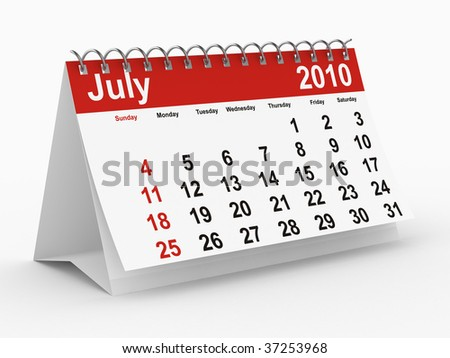 2010 year calendar. July. Isolated 3D image