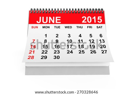 2015 year calendar. June calendar on a white background  - stock photo