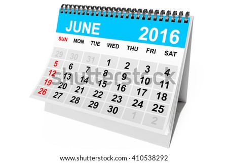 2016 year calendar. June calendar on a white background. 3d Rendering