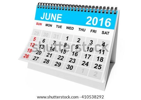 2016 year calendar. June calendar on a white background. 3d Rendering - stock photo