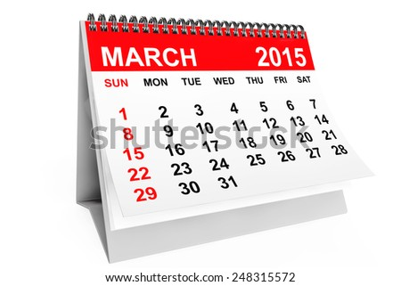 2015 year calendar. March calendar on a white background