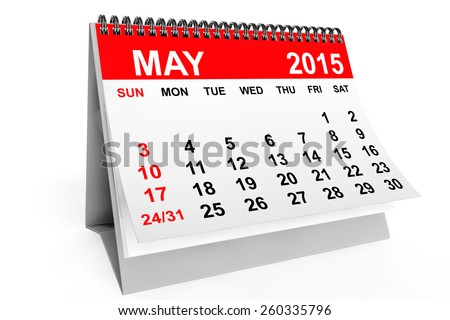 2015 year calendar. May calendar on a white background - stock photo