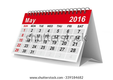 2016 year calendar. May. Isolated 3D image - stock photo