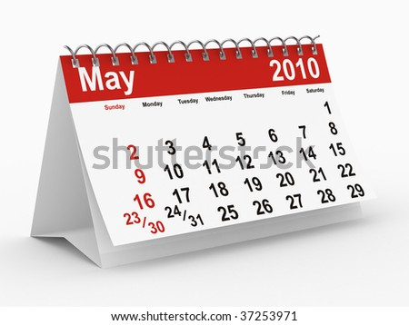 2010 year calendar. May. Isolated 3D image