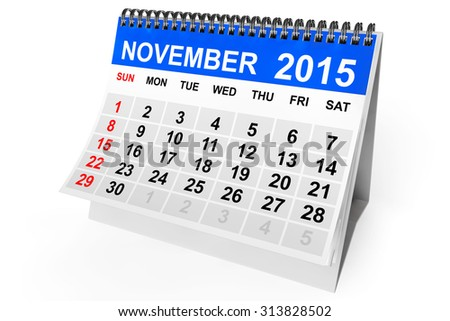 2015 year calendar. November calendar on a white background  - stock photo