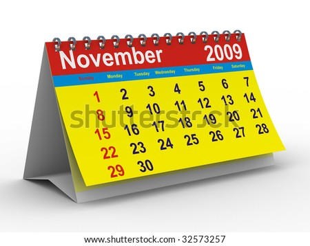 2009 year calendar. November. Isolated 3D image - stock photo