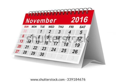 2016 year calendar. November. Isolated 3D image - stock photo