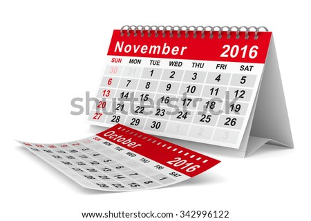 2016 year calendar. November. Isolated 3D image