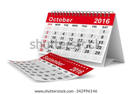 2016 year calendar. October. Isolated 3D image - stock photo