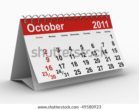 2011 year calendar. October. Isolated 3D image