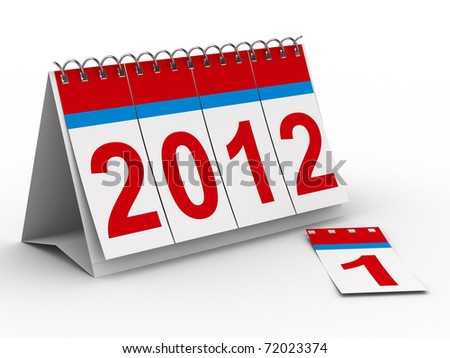 2012 year calendar on white background. Isolated 3D image - stock photo