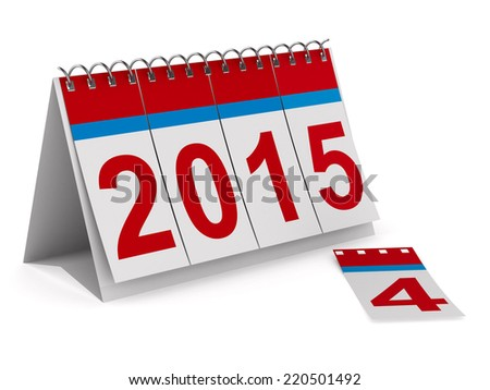 2015 year calendar on white backgroung. Isolated 3D image - stock photo