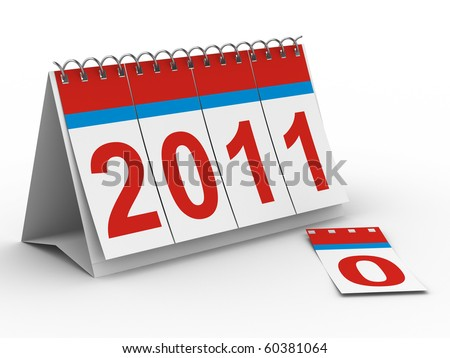 2011 year calendar on white backgroung. Isolated 3D image - stock photo