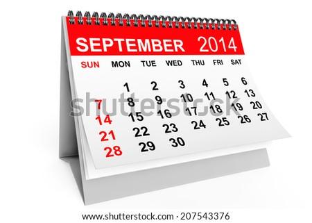 2014 year calendar. September calendar on a white background - stock photo