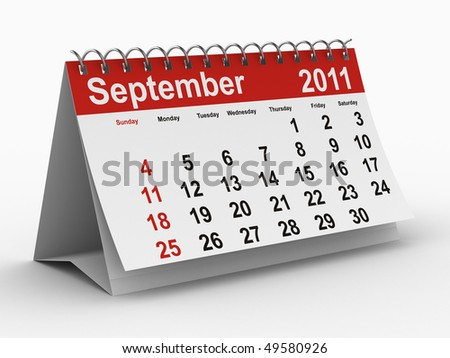 2011 year calendar. September. Isolated 3D image