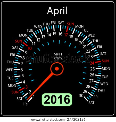 2016 year calendar speedometer car. April.  illustration. - stock photo