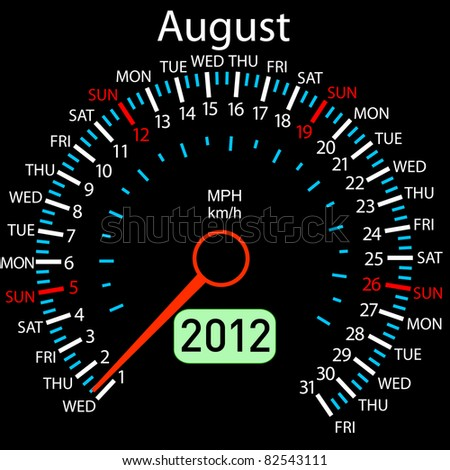 2012 year Calendar speedometer car. August. - stock photo