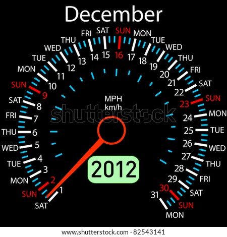 2012 year Calendar speedometer car . December. - stock photo