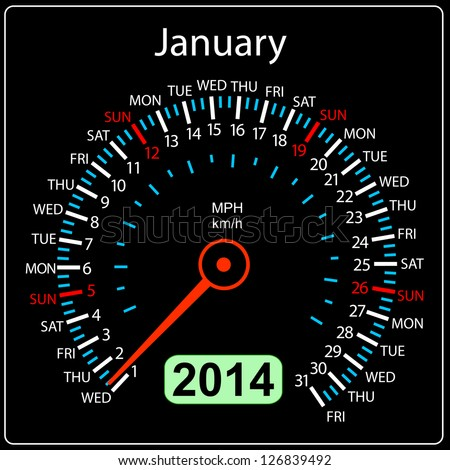2014 year calendar speedometer car in illustration. January. - stock photo