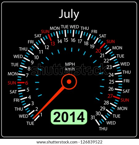 2014 year calendar speedometer car in illustration. July. - stock photo