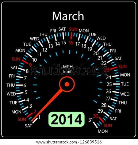 2014 year calendar speedometer car in illustration. March. - stock photo