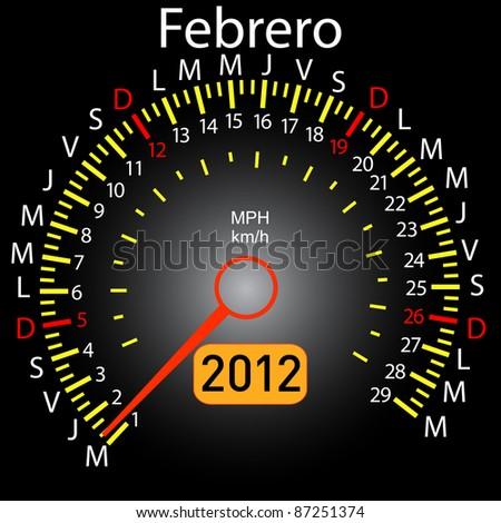2012 year calendar speedometer car in Spanish. February - stock photo
