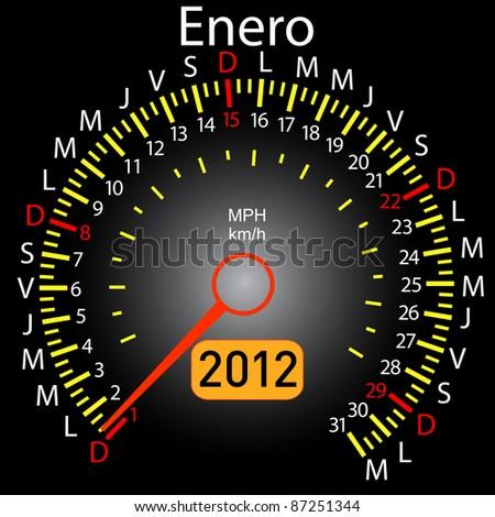 2012 year calendar speedometer car in Spanish. January - stock photo