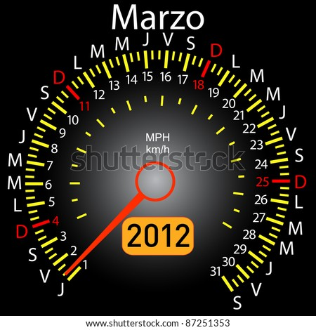 2012 year calendar speedometer car in Spanish. March - stock photo
