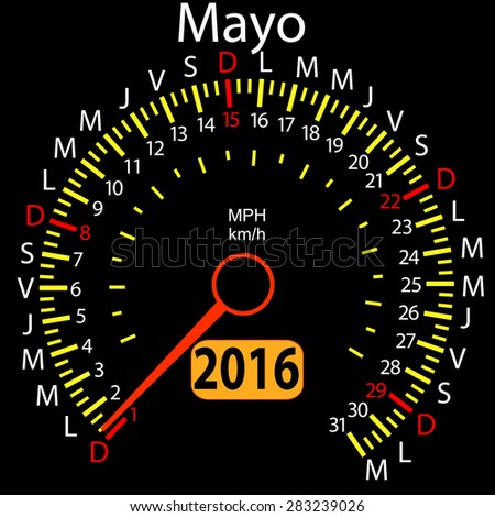 2016 year calendar speedometer car in Spanish, May.  illustration.