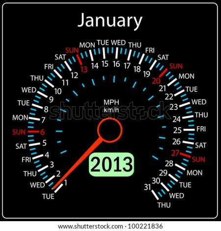 2013 year calendar speedometer car. January. - stock photo