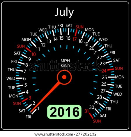 2016 year calendar speedometer car. July.  illustration. - stock photo