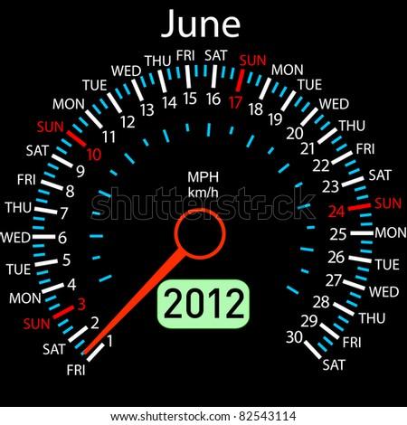 2012 year Calendar speedometer car . June. - stock photo