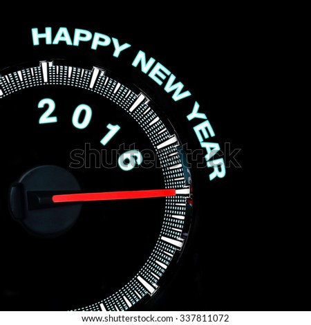 2016 year car speedometer, 2016 new year concept - stock photo