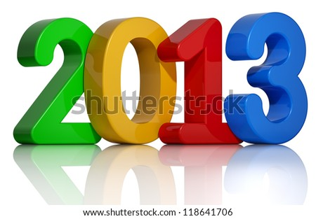 2013 year 3d colorful number standing on a reflective floor, isolated on white background.