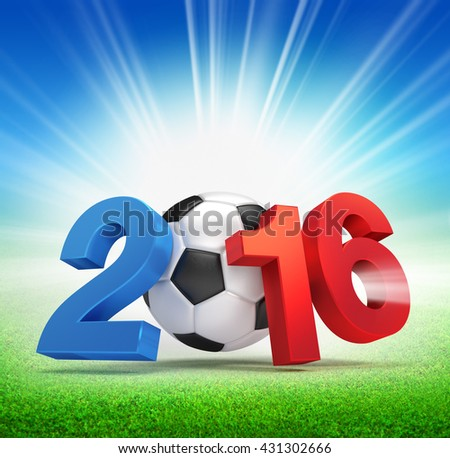 2016 year French flag colored, illustrated with a soccer ball and illuminated on a grass field - 3D illustration - stock photo