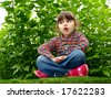 4-year girl tells the story very expressive - stock photo